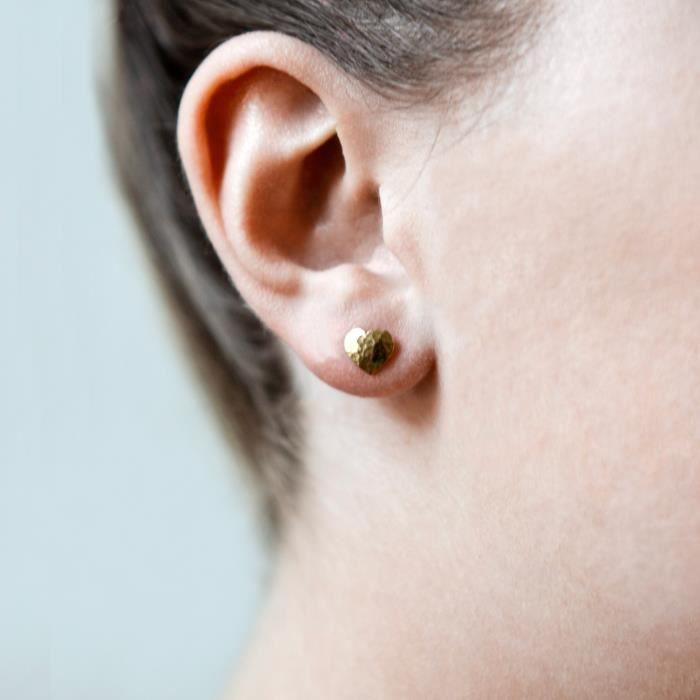Womens Nomad Beaten Heart Stud Earrings L6MCB