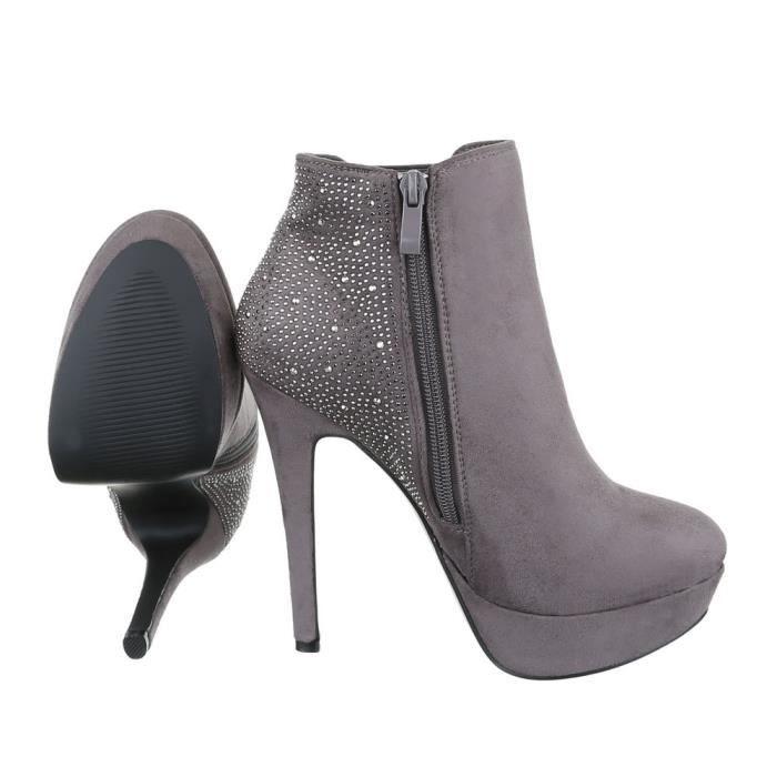Femme chaussures bottillon High Heels Plateau Ankle bottes gris 41