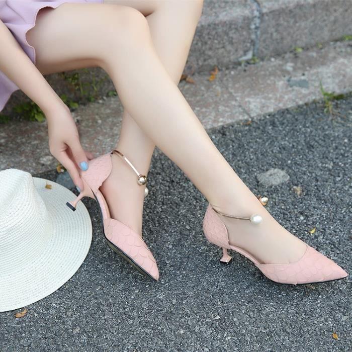Chaussures Toe Chaussures Talons Patent Sexy femme rose 39 Belle métal de Point Leahter Hauts perle talons Sandales noires Escarpins RwxSg1