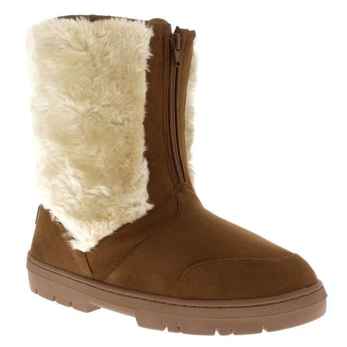 Femmes court en fausse fourrure doublure chaude neige Comfy extérieur Marche Bottes de neige S8T7M Taille-37