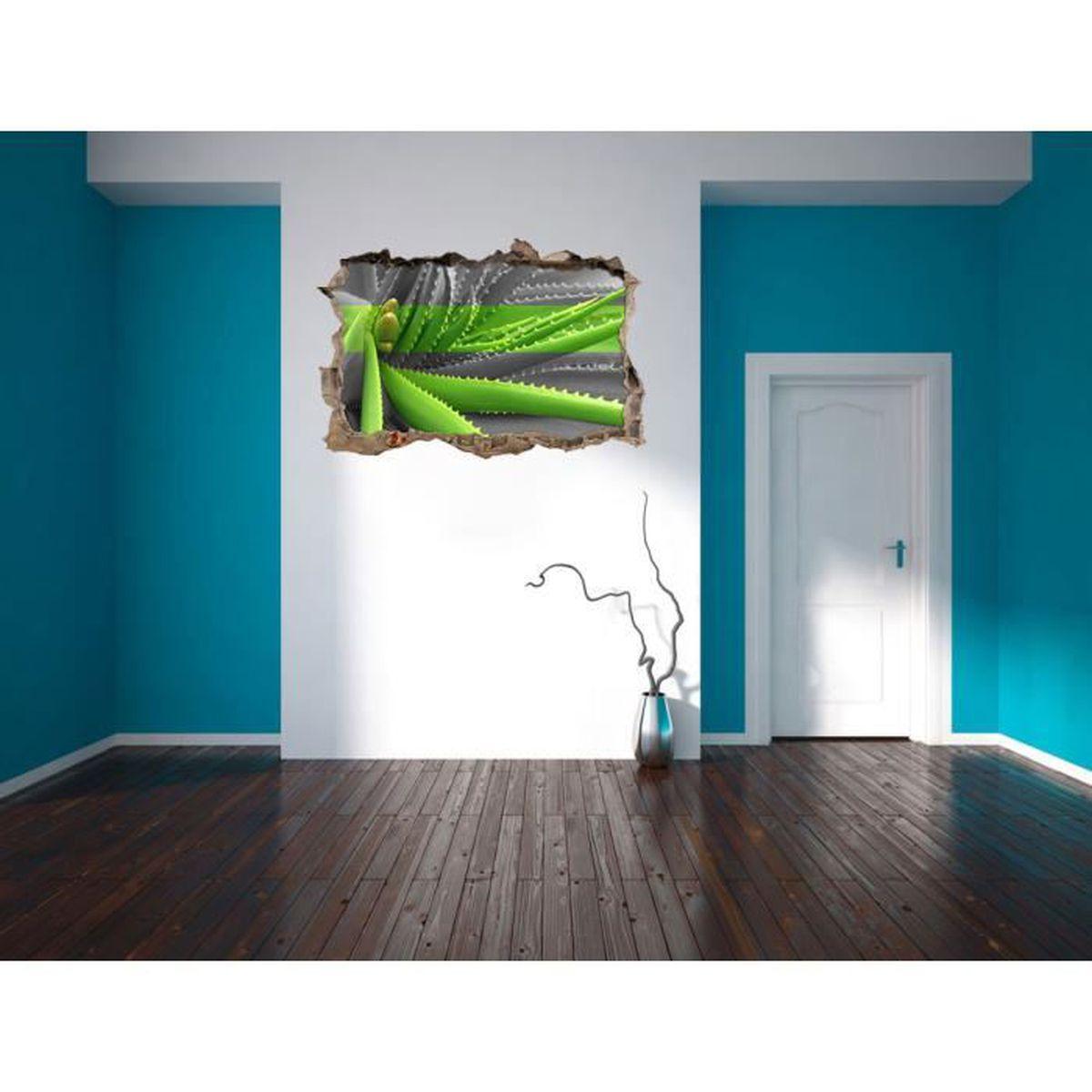 vert noir aloe vera plante / mur blanc percée en 3d look, mur ou