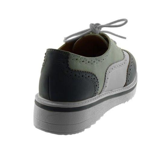 0bba833c63c3d Angkorly - Chaussure Mode Derbies semelle basket femme perforée Talon plat  3.5 CM - Bleu - 18-6 T 38 Bleu Bleu - Achat   Vente basket - Soldes  dès le  9 ...
