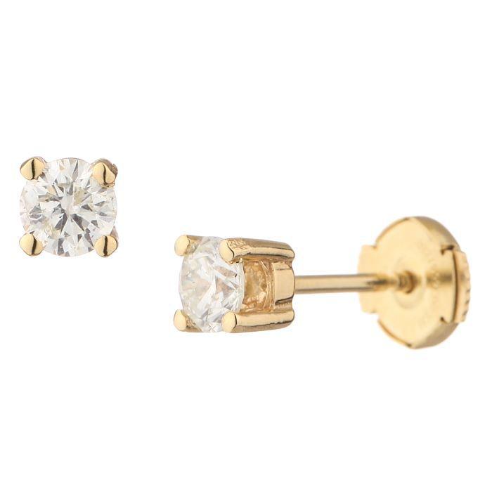 MONTE CARLO STAR Boucles d'oreilles Or Jaune 750° et Diamants 0.60 cts Femme