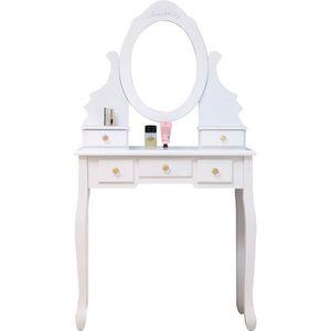 COIFFEUSE Coiffeuse classique blanche + tabouret - L 80 cm