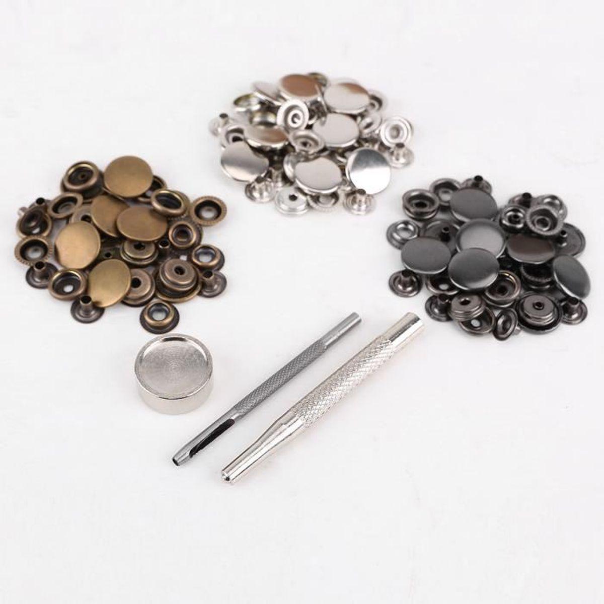 ... outil à fixer pour cuir maroquinerie. FERMETURE - BOUTON 30pcs 17mm bouton  pression métal argenté doré gris f0ec826c570