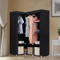 Songmics® Armoire d'Angle dressing en textile non-tissé 129 x 87 x 169 cm noir LSF42H