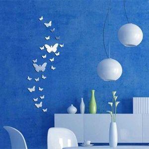 OBJET DÉCORATION MURALE 30PCS Papillon Sticker Autocollant Murale Miroir A