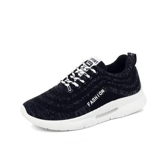 Baskets Femme Mode Feminine Baskets À Lacets Anti-dérapant Chaussures Noir Noir - Achat / Vente basket