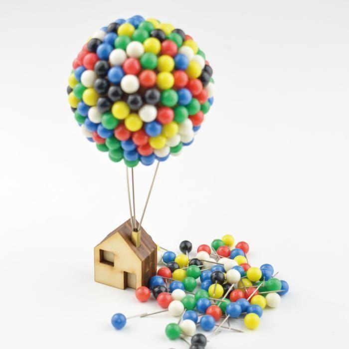 81adc3ac860f4 350pcs Ballon épingles Maison Coloré Pins Set Carte Papier Push Pins Tacks  avec Base En Bois Enfants Bricolage Artisanat Cadeau