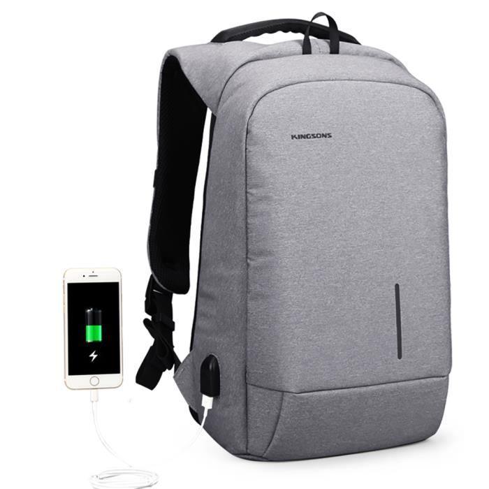 f9dbd3fe00 Sac à dos Antivol USB et Port de charge Antipluie Fashion en nylon ...