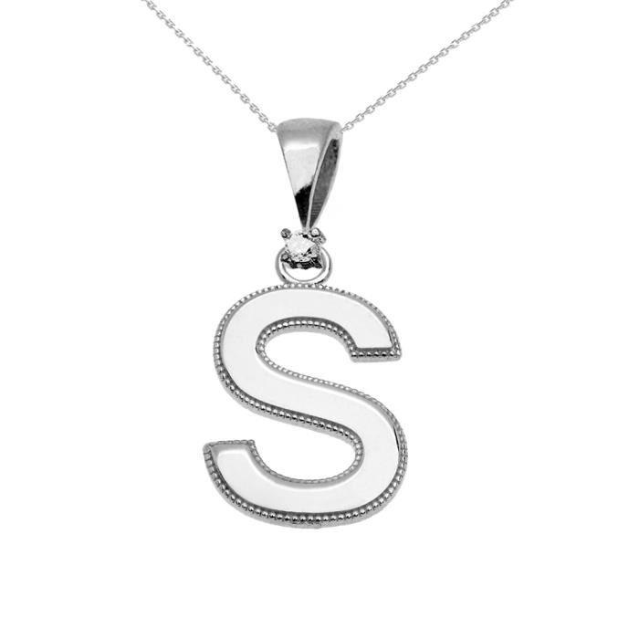 Collier Femme Pendentif 10 Ct Or Blanc Poli Élevé Milgrain Solitaire Diamant S Initiale (Livré avec une 45cm Chaîne)