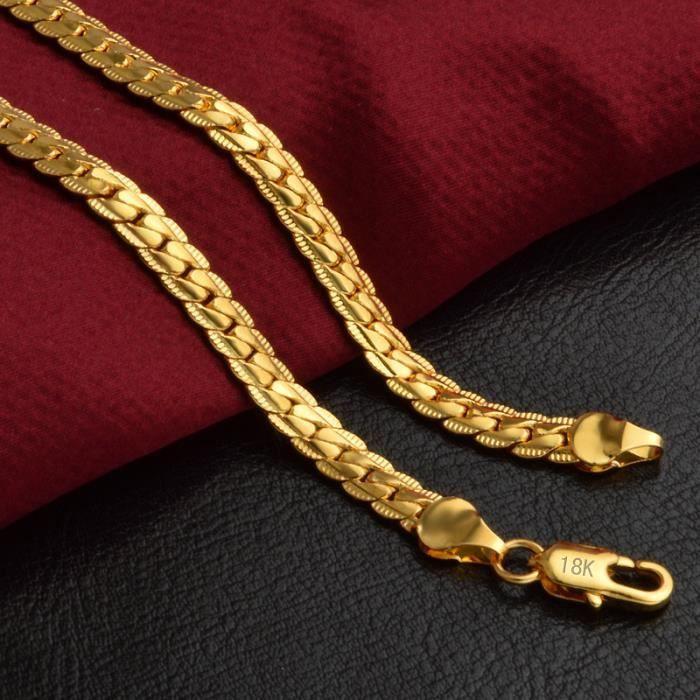 Exquisite 18K réel plaqué or Collier 18K Timbre Hommes Bijoux New Trendy  Serpent Collier chaîne 6b29870eeb0f