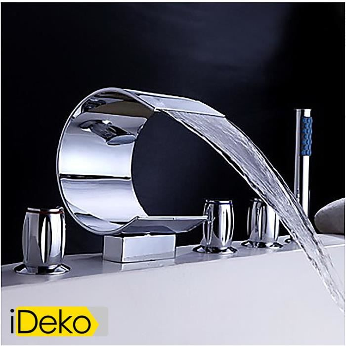 ideko® robinet mitigeur de baignoire cascade + douchette (style ... - Hauteur D Un Robinet De Baignoire
