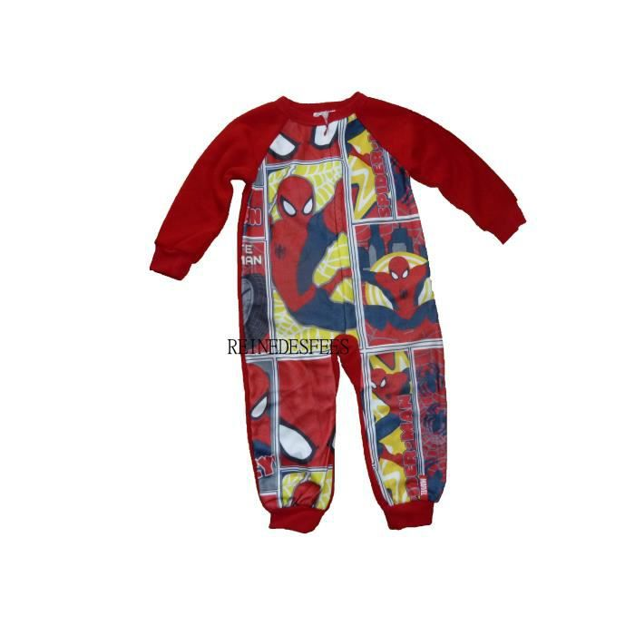 974b8cfc3b10f Surpyjama Spiderman 2 ans combinaison pyjama enfants chaud hiver héro  Marvel à New York grenouillère garçons en polaire rouge