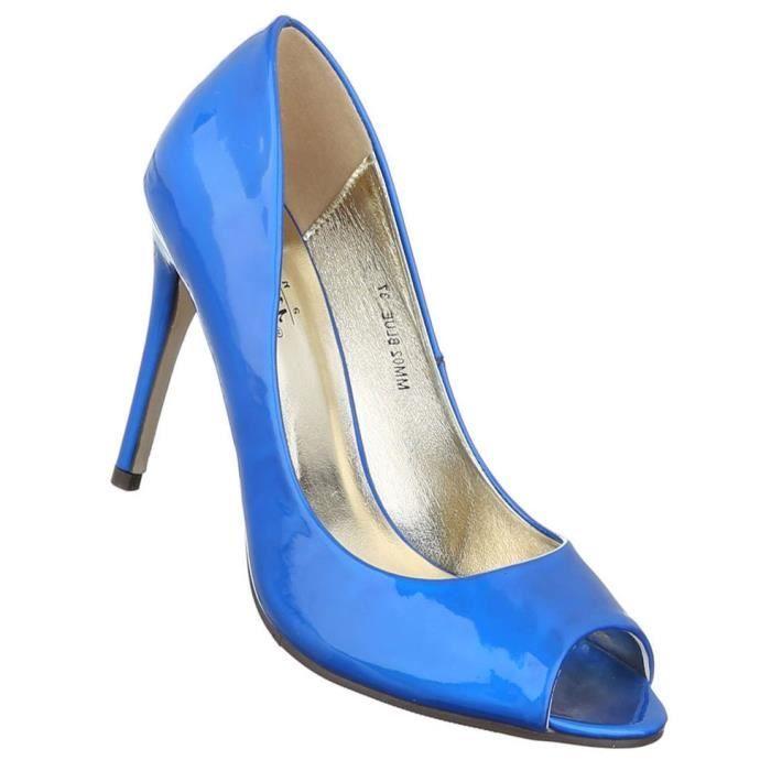 Femme escarpin chaussures Élégant High Heels Peep Toe bleu 41