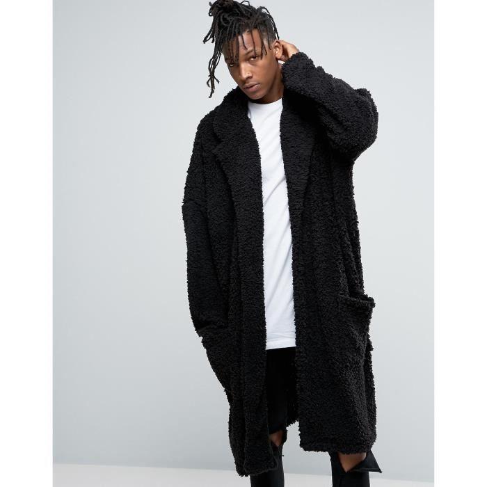 Craze Manteau long ultra oversize en imitation peau de mouton - Noir J5R9F d0ed6caeb74