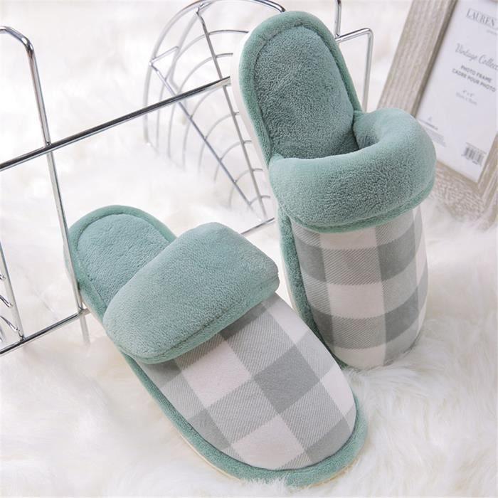 chaussons femme Classique Fond plat pantoufle femme chaud hiver peluche Série à domicile chaussures femmes Plusieurs couleurs