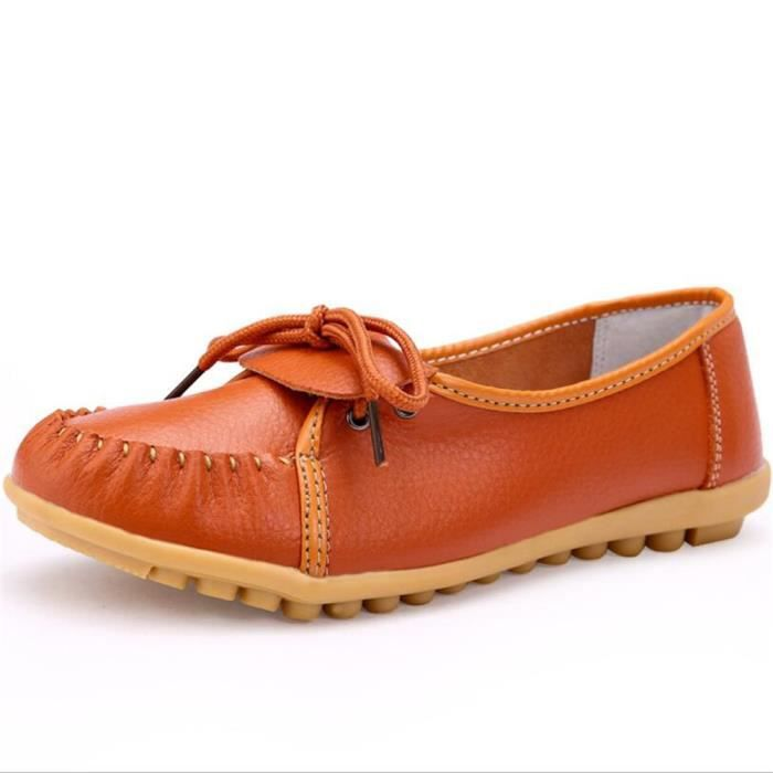 Mocassin Femmes Ultra Leger Antidérapant Chaussures BZH-XZ041Orange37 Q40Rw