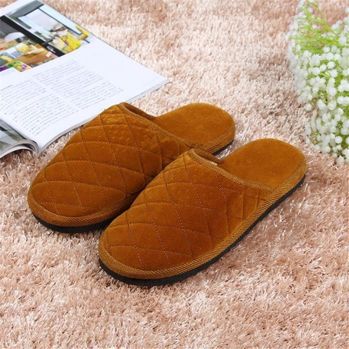 Pantoufles plates imperméables à la maison des hommes de mode de luxe doux confortable maison maison chaussures zim245AD