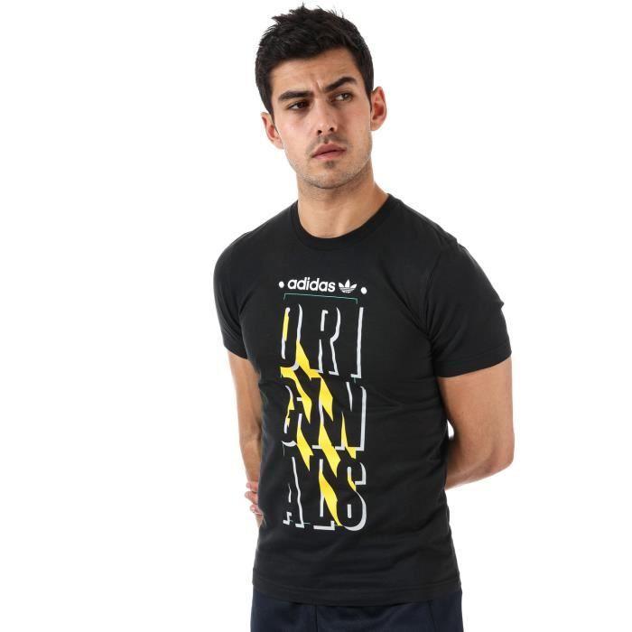 T shirt adidas Originals Graphic Slogan pour homme en noir.
