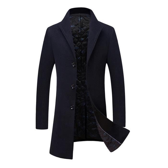 belle qualité juste prix 2019 authentique Manteau bleu marine homme laine Col à revers slim casual vêtement masculin  hiver