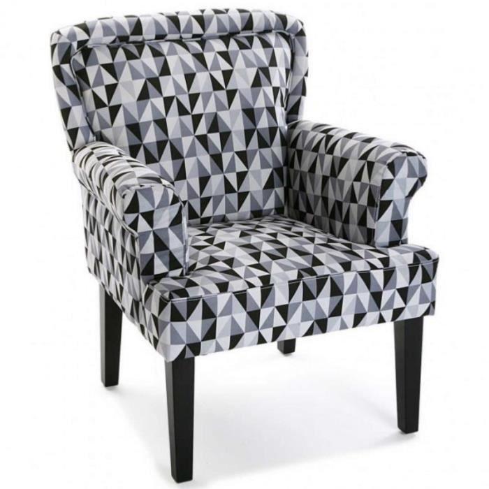 FAUTEUIL VOLTAIRE DESIGN NOIR ET BLANC - Achat / Vente fauteuil ...