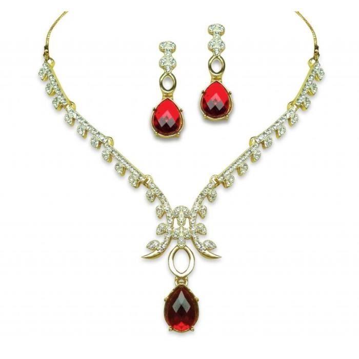 Femmes Collier Set américain diamant 24k plaqué or Bollyod Designer Gem Pierre Set Collier pour - R3WJB