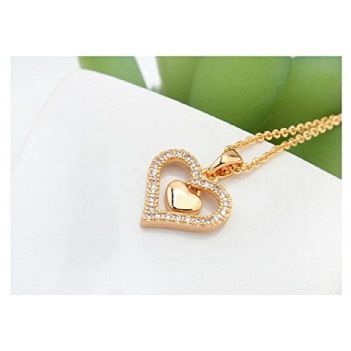Brass Coeur Zirconia Femmes en or 18 carats plaqué Princesse Pendentif chaîne bijoux pour &SRJGK