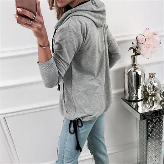 Outwear Capuche Manteau Veste Longues Mode Bandage Pardessus Sweat Femmes Manches Gris À qwORYzt