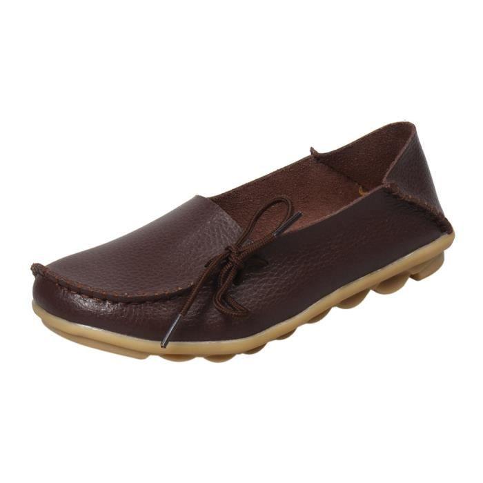 Sidneyki®La lettre des femmes Soft Lace-Up décontracté chaussures plates pois antidérapant chaussures extérieures café XKO465