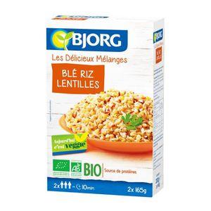 PLAT LÉGUMES - FÉCULENT BJORG Mélange blé riz et lentilles bio - 2x165 g