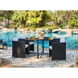Table jardin resine fauteuils encastrables - Achat / Vente pas cher