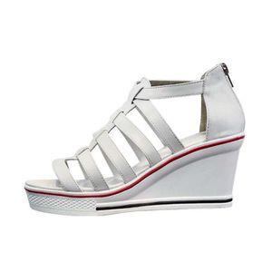 SANDALE - NU-PIEDS Sandales Femmes Chaussure Talons Compensés 7CM Fer