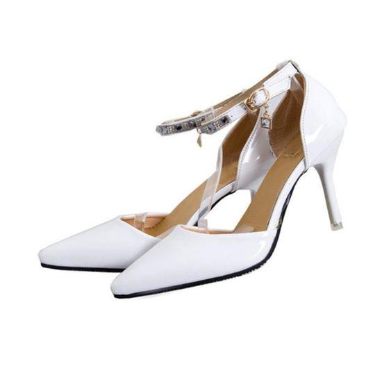 Femme Fille Escarpins à Bouts pointus Crystal Bride arrière Blanc Blanc - Achat / Vente escarpin