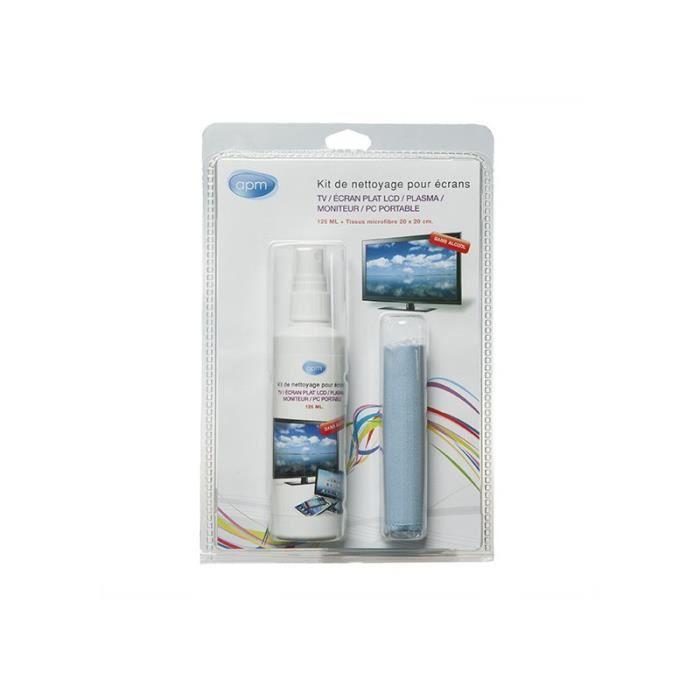APM Kit de nettoyage en spray 125ml pour ecran Tv et moniteur avec microfibre