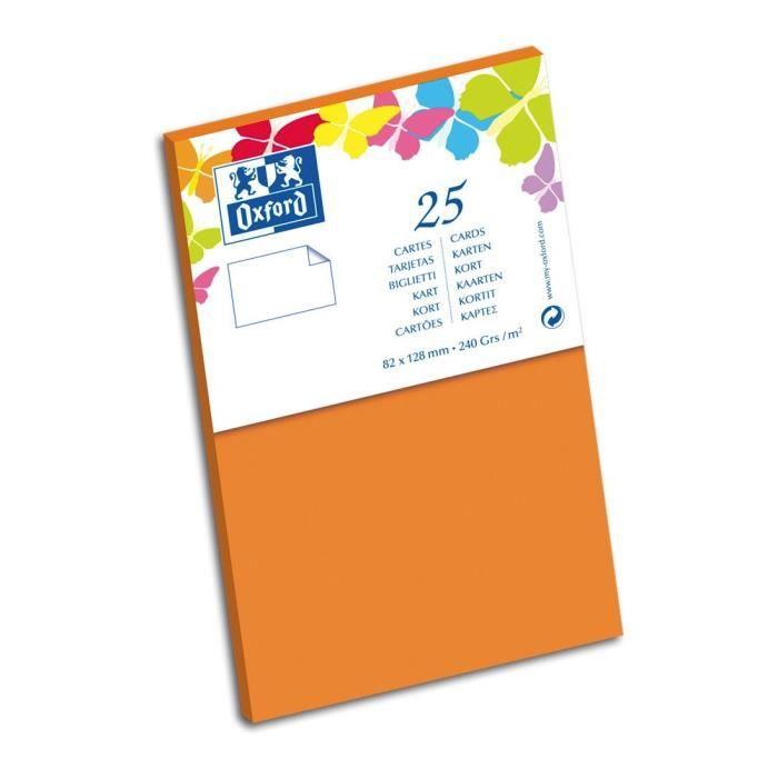 OXFORD 25 Cartes - 12,8 cm x 8,2 cm x 0,7 cm - 240g - Orange