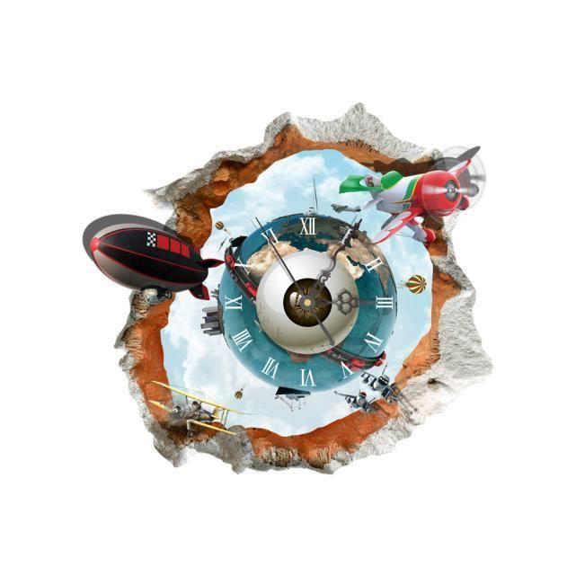 Basilesmile®DIY 3D Stickers Muraux Horloge Monde Terre Sticker Horloge 3D Art Horloge Murale   XYQ60728127