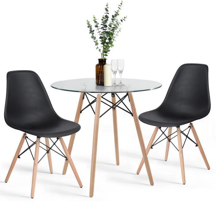 Homy Casa Table à Manger Ronde Table de Cuisine Scandinave en Verre ...