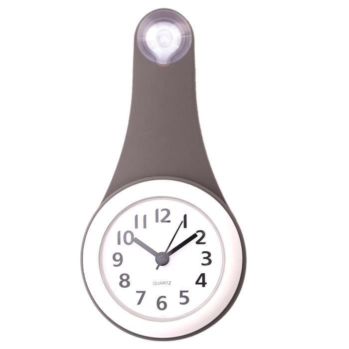 Salle De Bains Horloge Murale étanche Horloge Silencieuse Avec Ventouse    Gris