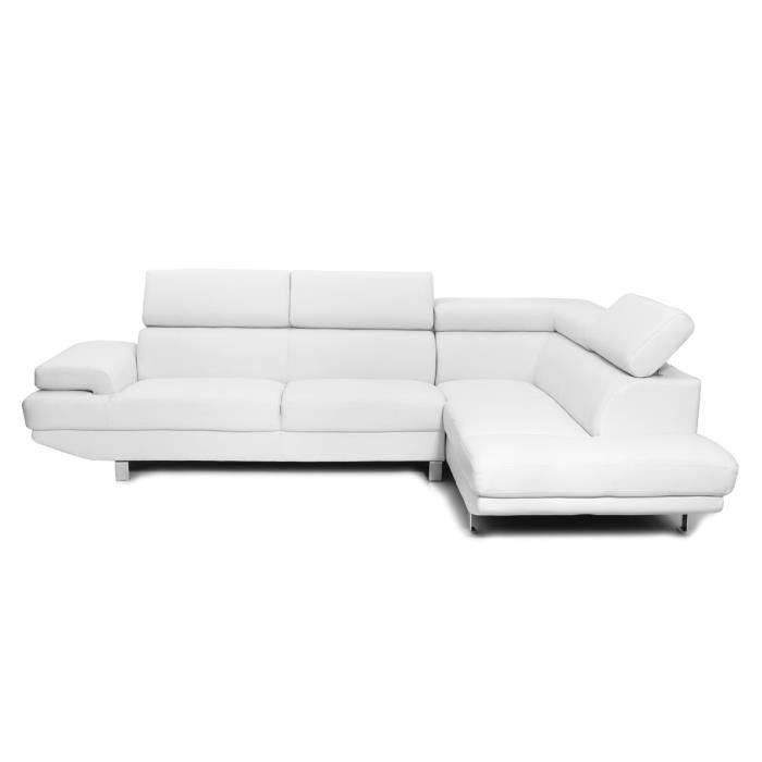miliboo canap d 39 angle en cuir blanc avec t t achat vente canap sofa divan cdiscount. Black Bedroom Furniture Sets. Home Design Ideas