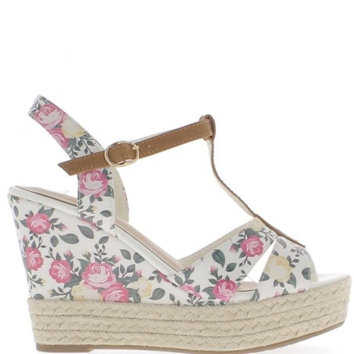 Sandales compensées blanches talons de 11cm impression fleurs Ph7u99wqL