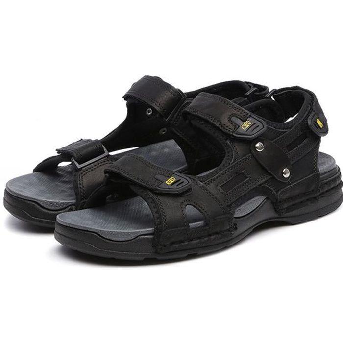 Biencome® Hommes Sandales en Cuir Respirant Confortable Bout Fermé pour Sport Plage - Noir