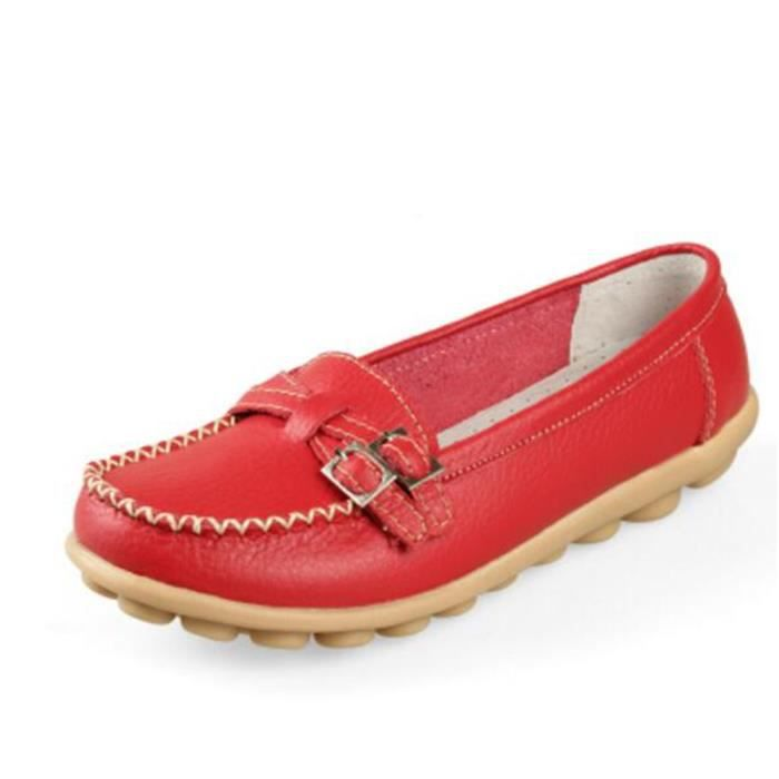 Mocassin Femmes Mode Loafer Detente Casual Chaussures DTG-XZ088Rouge38