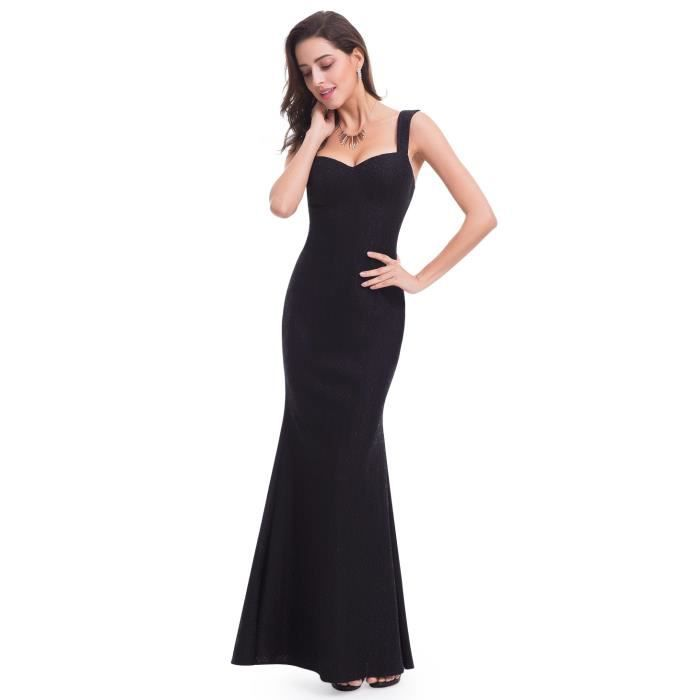 ed1e7238b75 Robe noire longue femme à bretelles ajustée moulante et sexy Noir ...