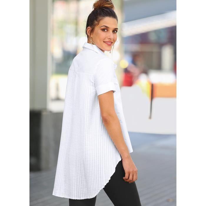 magasiner pour authentique hot-vente authentique plutôt sympa Blouse asymétrique plissée manches courtes femme