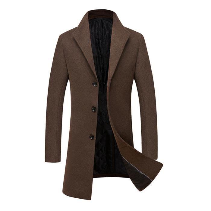 Vêtement Casual À Laine Homme Camel Manteau Masculin Slim Revers Col n6481xxqw