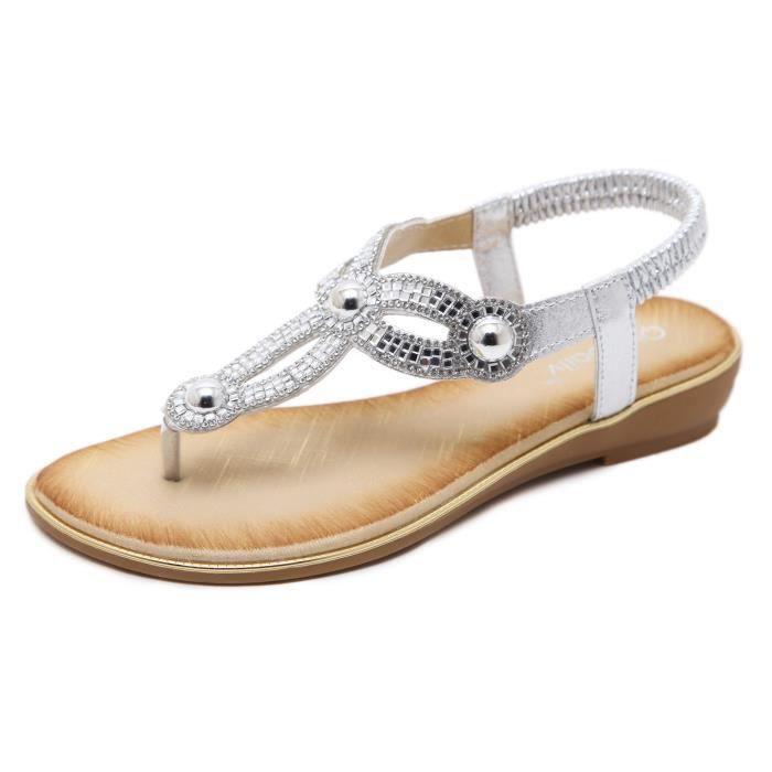 Sandales Chaussures Femme Strass Plates Tongs Bohémien A53RjL4q