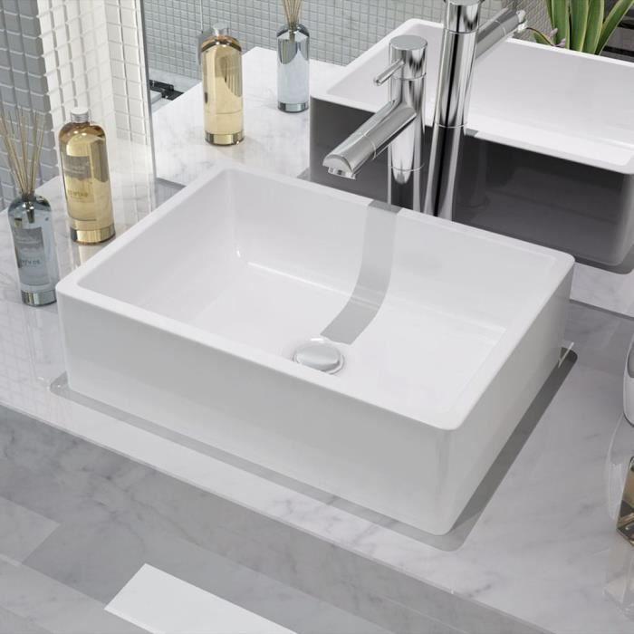 Lavabo Ceramique Vasque A Poser Ou Montage Blanc 41 X 30 12 CmBlanc