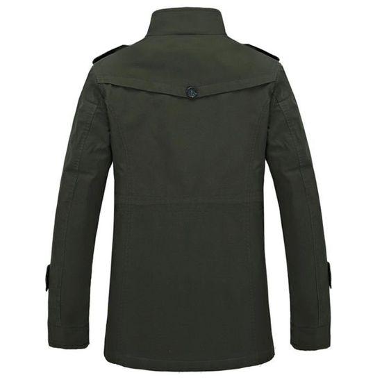 Boutons Huadedu Hiver Veste Long Outwear Éclair Vert Fermeture Slim Manteau Hommes Chaud Trench Pardessus vUvwrqE