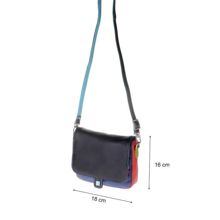Petit sac à main pour femme en cuir multicolore à bandoulière signé DUDU Noir GjWDSGoC